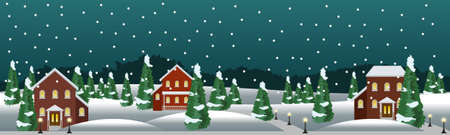 Illustration pour Winter village or farm landscape scene. Christmas or New Year night, houses,snow, conifer trees. Use as background in cartoon or game asset. Vector illustration - image libre de droit