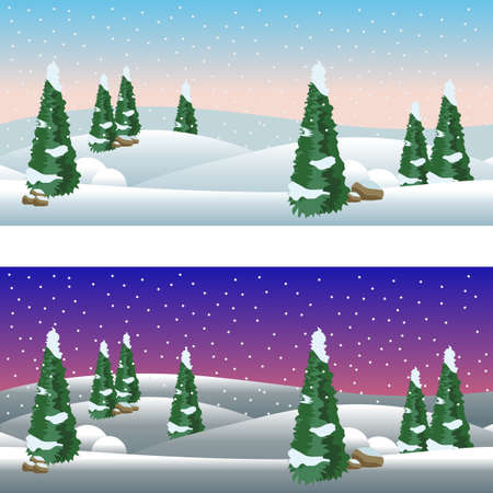 Illustration pour Set of cartoon winter village landscapes, day and night. Snow, conifer trees, Christmas night. Horizontally seamless, fits as background for cartoon or game asset. Vector illustration - image libre de droit
