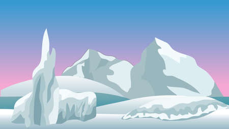Illustration pour Vector winter landscape for cartoon or game scene background. Horizontally seamless, vector illustration. Ice rocks, northern sky and snow.  - image libre de droit