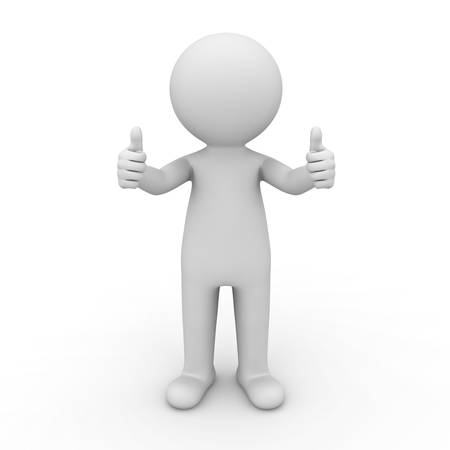 3d man showing thumbs up on white background