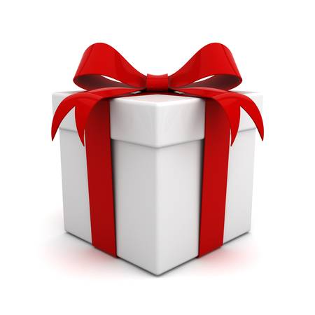 Photo for Gift box with red ribbon bow isolated on white background - Royalty Free Image