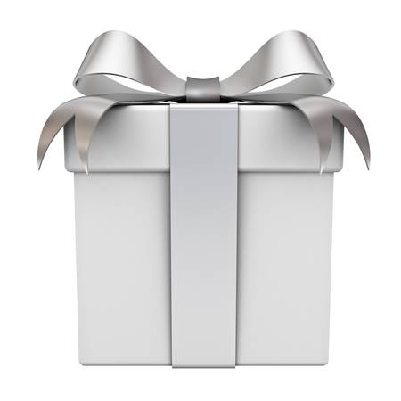 Photo for Gift box with silver ribbon bow isolated on white background - Royalty Free Image