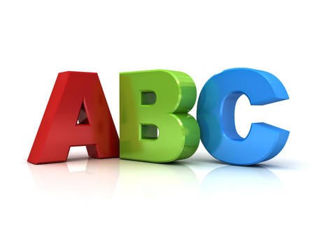 Photo pour 3d abc letters isolated over white background with reflection - image libre de droit