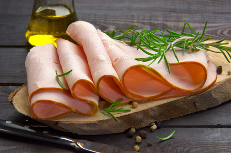 Photo for smoked turkey slices naturally blended and cooked with olive oil - Royalty Free Image