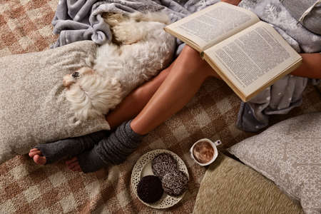 Photo pour Woman with cute dog Maltese, sweet gingerbread cookies, book, hot drink  lying on bed in the cozy room - image libre de droit