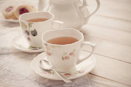 Foto de Afternoon tea with Meringue - Imagen libre de derechos