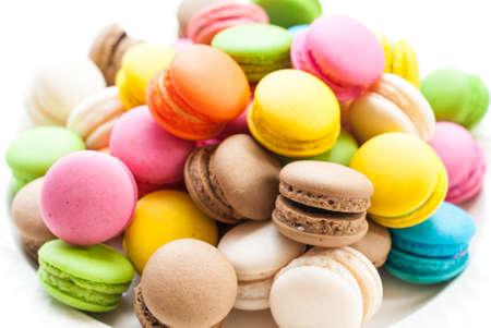 Foto de French macaroons. Coffee, chocolate, vanilla and raspberry macaroons, vintage tone - Imagen libre de derechos