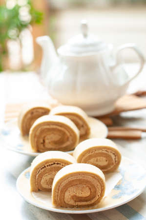 Photo pour Swiss chestnut roll cake - image libre de droit