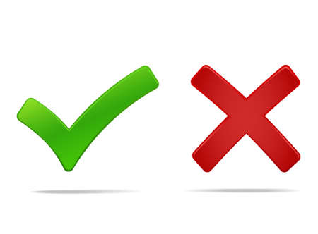 Illustration pour Tick and cross mark, yes no symbols green an red. Vector illustration, you can easily change the color and size - image libre de droit
