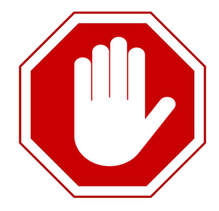 Illustration pour STOP Red octagonal stop hand sign for prohibited activities. Vector illustration - you can simply change color and size - image libre de droit