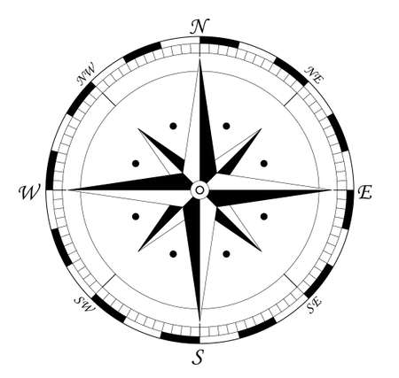 Ilustración de compass, navigation wind rose - vector illustration fully editable, you can change form and color - Imagen libre de derechos