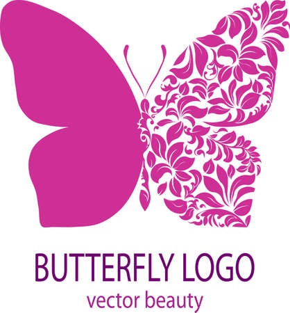 Foto de Butterfly logo. Purple butterfly with patterned wing, icon, avatar, flower style, spa beauty salon logotype, insignia, label, badge, vector element, floral design template for your business - Imagen libre de derechos