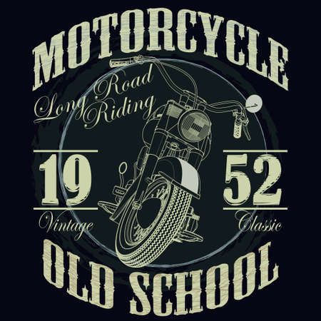 Illustration pour Motorcycle Racing Typography Graphics. Old school bike. T-shirt Design, vector illustration - image libre de droit