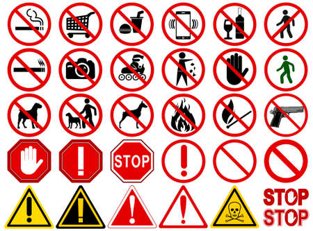 Illustration pour Set of  Signs for Different Prohibited Activities. No - signs, No smoking, No drinking, No photographing, No dogs, No walk and other. Vector illustration - you can simply change color and size - image libre de droit