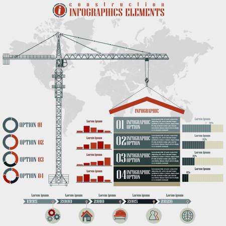 Photo pour Infographics elements, Construction business, build tower crane on a world map background, vector illustration - image libre de droit