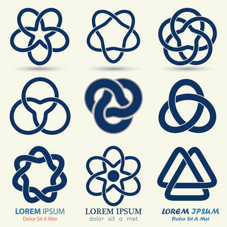 Ilustración de Business emblem set, blue knot symbol, curve looped icon - vector illustration - Imagen libre de derechos