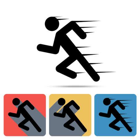 Ilustración de Running Man icon, sprinter. Flat long shadow icons, speed sign, sport symbol, marathon winner - vector - Imagen libre de derechos