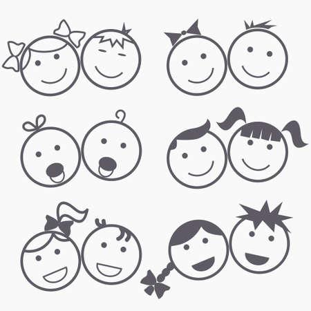 Ilustración de Kids icons, happy faces, smile children, boy and girl silhouette, linear design - vectors - Imagen libre de derechos