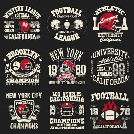 Football logo set, Athletic T-shirt fashion design, Sport Typography, Vintage Print for sportswear apparel - vector illustration