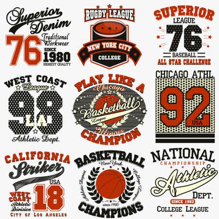 Sport Typography Graphics logo set, T-shirt Printing Design.