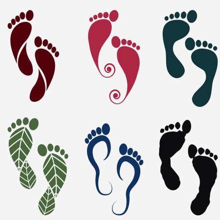 Ilustración de footprint silhouette icons, human footstep set. Vector - Imagen libre de derechos
