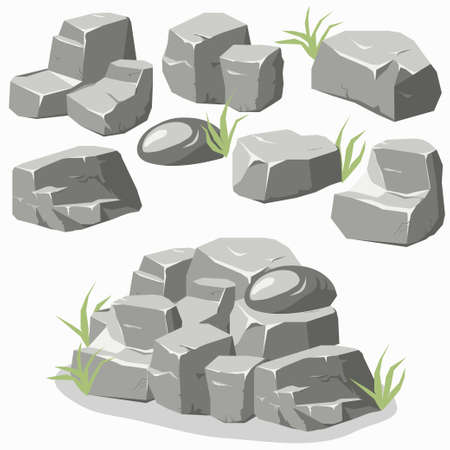Illustration pour Rock stone set with grass. Stones and rocks in isometric 3d flat style. Set of different boulders - image libre de droit