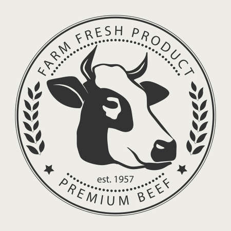 Ilustración de Butcher shop sign with silhouette of cow, premium beef label,  typographic  badge and design element - Imagen libre de derechos