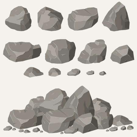 Illustration pour Rock stone set cartoon. Stones and rocks in isometric 3d flat style. Set of different boulders - image libre de droit