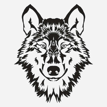 Illustration pour Wolf bolt Emblem, mascot head silhouette, sport logotype. Template for business or t-shirt design. Vector - image libre de droit