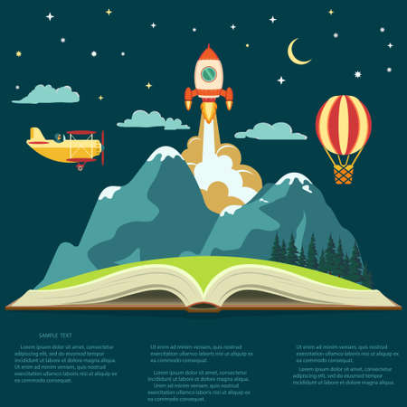 Illustration pour Imagination concept, Reading opened book, mountain, flying rocket, air balloon and airplane. Vector - image libre de droit