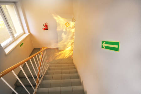 Foto de Big fire on the stair case - Imagen libre de derechos