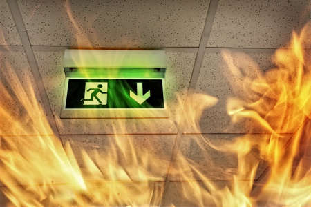 Foto de Fire in the building - emergency exit - Imagen libre de derechos