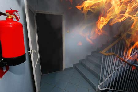 Foto de Fire on the building office - Imagen libre de derechos