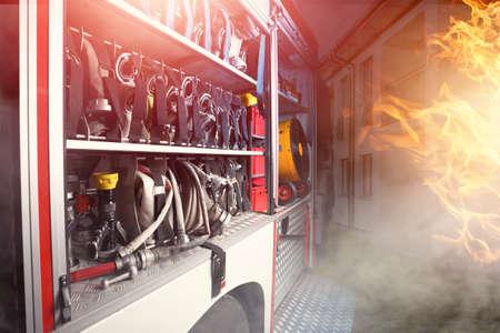 Foto de fire truck with fire-fighting equipment - Imagen libre de derechos