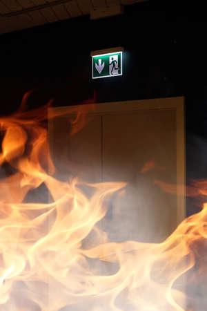 Foto de fire in the building and office space - Imagen libre de derechos
