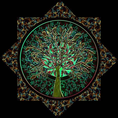 Foto de Tree of Life in Ornate Star Frame - Imagen libre de derechos