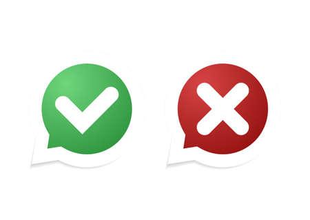 Illustration pour Vector Confirm and Cancel icon. Vector illustration. - image libre de droit
