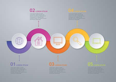 Ilustración de Vector illustration infographic timeline of five options. - Imagen libre de derechos