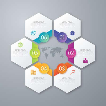Illustration pour Stock options infographics six hexagons. - image libre de droit