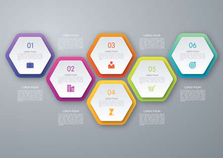 Illustration pour Vector circle hexagon infographic. Template for diagram, graph, presentation and chart. Business concept with 6 options, parts, steps or processes. Abstract background. - image libre de droit