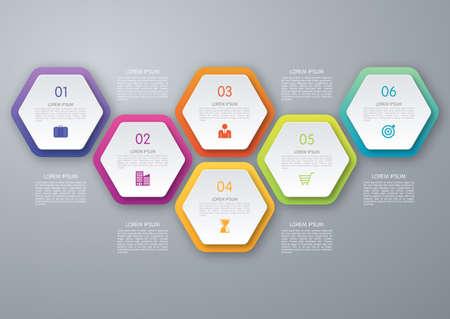 Ilustración de Vector circle hexagon infographic. Template for diagram, graph, presentation and chart. Business concept with 6 options, parts, steps or processes. Abstract background. - Imagen libre de derechos
