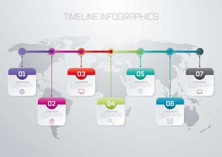 Ilustración de Vector illustration infographic timeline of seven options. - Imagen libre de derechos