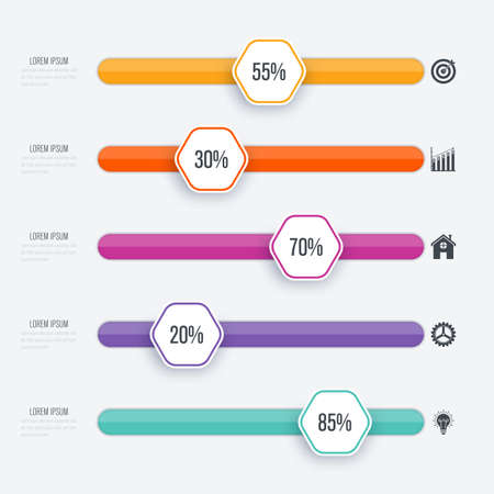 Ilustración de Vector illustration infographic five options. Stock vector - Imagen libre de derechos