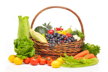 Photo pour fruits and vegetables in basket isolated on white - image libre de droit