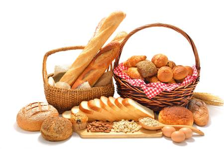 Foto de bread and rolls isolated on white background  - Imagen libre de derechos