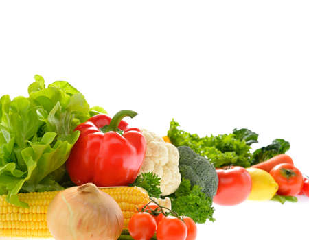 Photo pour Vegetables and fruits isolated on white background - image libre de droit