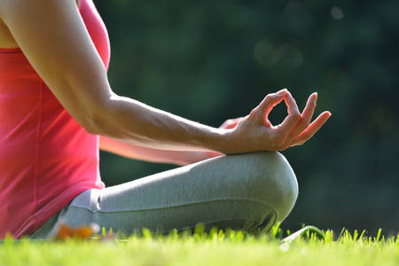 Photo for Middle aged woman practicing yoga meditation outdoor - Royalty Free Image