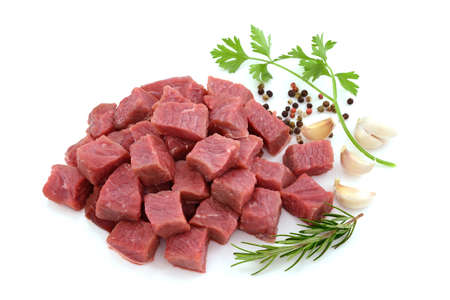 Photo for Raw meat, beef steak sliced in cubes isolated on white background - Royalty Free Image