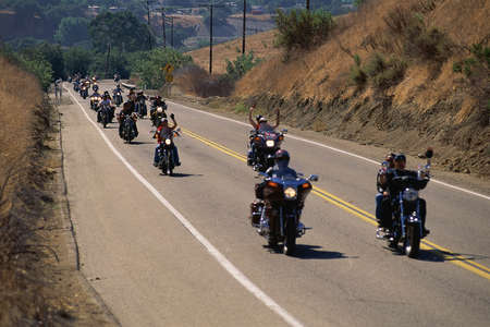 Group of motorcycles on road