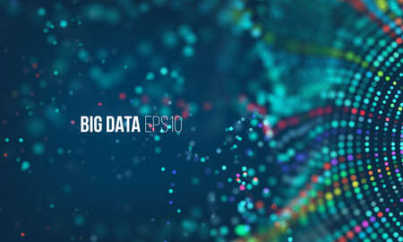 Illustration pour Data sorting flow process. Big data stream futuristic infographic. Colorful particle wave with bokeh and glow - image libre de droit